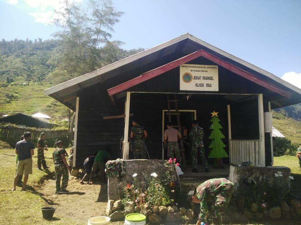 Berkat Satgas, Masyarakat Nduga di Kampung Mbua Bisa Rayakan Natal Dengan Kondisi Gereja Lebih Baik.